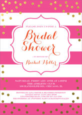 Pink with Gold Confetti Bridal Shower Invitations