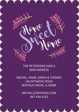 Purple Home Sweet Home Moving Announcements