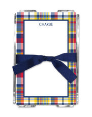 Navy & Red Madras Plaid Memo Sheets with Holder