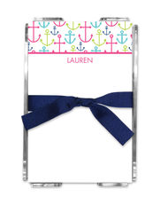 Pink Happy Anchors Memo Sheets with Holder