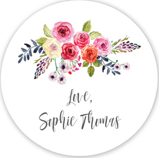 White Floral Bunch Gift Stickers