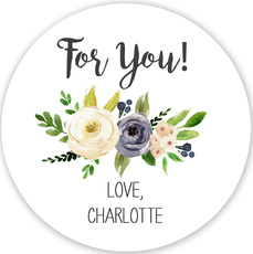 Gray and Ivory Roses Gift Stickers