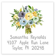 Yellow and Blue Bouquet Square Address Labels