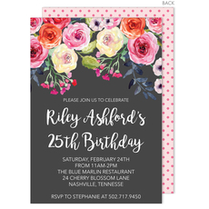Charcoal Watercolor Roses Invitations