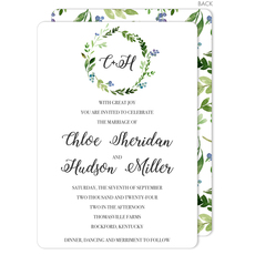 Green Wreath Initial Invitations