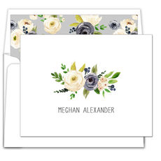 Gray and Ivory Roses Folded Note Cards