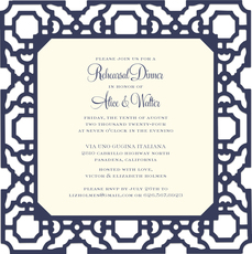 Navy Filigree Die-cut Frame Invitations