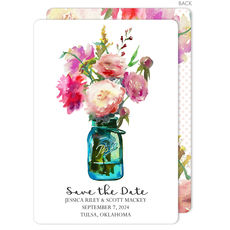 Mason Jar Peonies Save The Date Announcements
