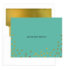 Confetti Gold Foil Dots Folded Note Cards with Lined Envelopes