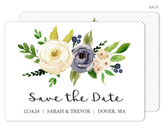 Gray and Ivory Roses Save the Date Cards