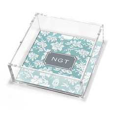 Slate Floral Petite Lucite Trinket Tray