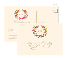 Flowery Wreath Reply Post Cards