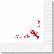 Corner Text Napkins with Maine Lobster Design