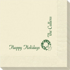 Corner Text with Traditional Wreath Design Napkins