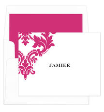 Raspberry Damask Scroll Foldover Note Cards