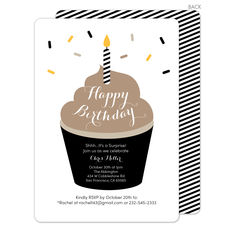 Brown Frosting Birthday Cupcake Invitations