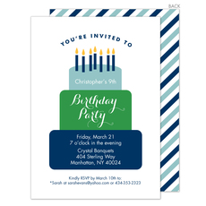 Blue Tiered Cake Birthday Invitations