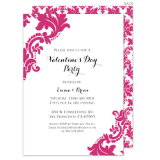 Raspberry Damask Invitations
