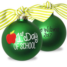 First Day of School Glass Christmas Ornament