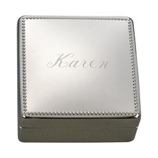 Personalized Square Jewelry Box with Beaded Border
