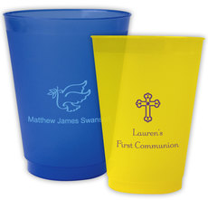 Personalized Colored Frosted Cups for Christian Celebrations