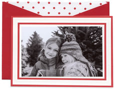 Scarlet Candy Stripe Photo Foldover Holiday Cards