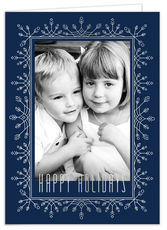 Frosted Flurries Silver Foil Holiday Folded Photo Cards