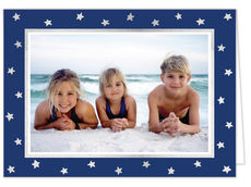Silver Stars on Navy with Silver Foil Holiday Folded Photo Cards