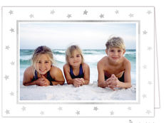 Silver Foil Stars on White Holiday Folded Photo Cards