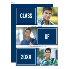 Navy Class of Blocks Graduation Photo Announcements