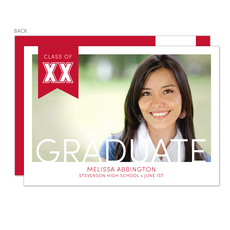 Red Ribbon Graduation Photo Announcements