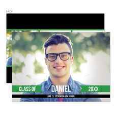 Green Ribbon Banner Graduation Photo Announcements