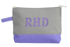 Personalized Solid Grey and Violet Trimmed Cosmetic Bag
