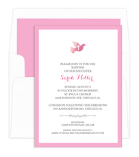 Pink Watercolor Dove with Cross Invitations