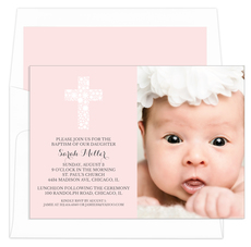 Pink Floral Lace Cross Photo Baptism Invitations