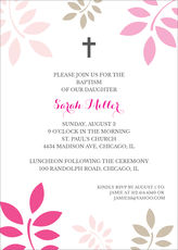 Pink and Tan Botanical Leaves with Cross Invitations