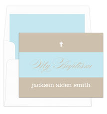 Tan and Blue Banner Folded Baptism Note Cards