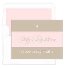 Tan and Pink Banner Folded Baptism Note Cards