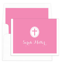Pink Cross Folded Note Cards