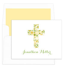 White and Yellow Floral Cross Folded Note Cards