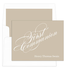 Tan First Communion Folded Note Cards