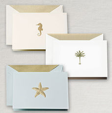 Engraved Beach Assortment Boxed Folded Note Cards