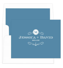 Wedgewood Initial Scroll Folded Note Cards