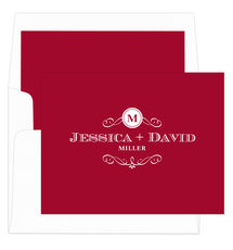 Red Initial Scroll Folded Note Cards