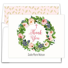 Rose Wreath with Cross Folded Thank You Note Cards