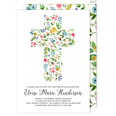 White Cross of Buds Invitations
