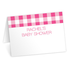 Pink Gingham Place Cards