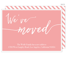 Pink We've Moved Moving Announcements