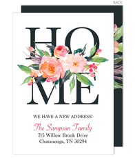 Watercolor Floral Home Moving Announcements
