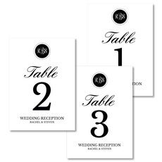 Black Circle Initials Table Number Cards